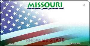 Missouri with American Flag Wholesale Novelty Metal Bicycle Plate BP-12354