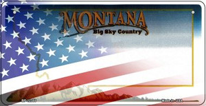 Montana with American Flag Wholesale Novelty Metal Bicycle Plate BP-12355