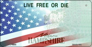 New Hampshire with American Flag Wholesale Novelty Metal Bicycle Plate BP-12358