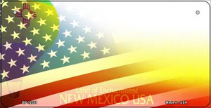 New Mexico with American Flag Wholesale Novelty Metal Bicycle Plate BP-12359