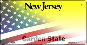 New Jersey with American Flag Wholesale Novelty Metal Bicycle Plate BP-12360