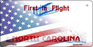 North Carolina with American Flag Wholesale Novelty Metal Bicycle Plate BP-12362
