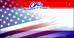 Ohio with American Flag Wholesale Novelty Metal Bicycle Plate BP-12364