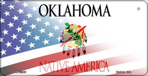 Oklahoma with American Flag Wholesale Novelty Metal Bicycle Plate BP-12365