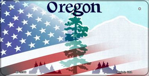 Oregon with American Flag Wholesale Novelty Metal Bicycle Plate BP-12366