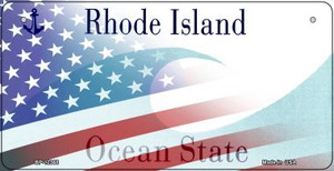 Rhode Island with American Flag Wholesale Novelty Metal Bicycle Plate BP-12368
