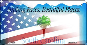 South Carolina with American Flag Wholesale Novelty Metal Bicycle Plate BP-12369