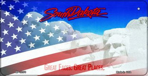 South Dakota with American Flag Wholesale Novelty Metal Bicycle Plate BP-12370