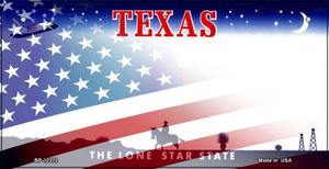 Texas with American Flag Wholesale Novelty Metal Bicycle Plate BP-12372