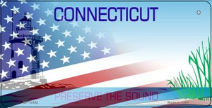 Connecticut with American Flag Wholesale Novelty Metal Bicycle Plate BP-12432