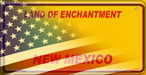New Mexico with American Flag Wholesale Novelty Metal Bicycle Plate BP-12433