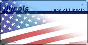 Illinois with American Flag Wholesale Novelty Metal Bicycle Plate BP-12435