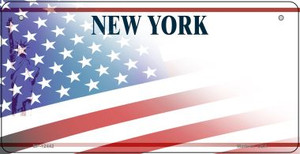 New York with American Flag Wholesale Novelty Metal Bicycle Plate BP-12442