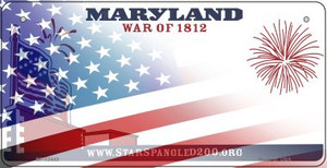 Maryland with American Flag Wholesale Novelty Metal Bicycle Plate BP-12443