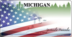 Michigan with American Flag Wholesale Novelty Metal Bicycle Plate BP-12444