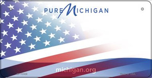 Michigan with American Flag Wholesale Novelty Metal Bicycle Plate BP-12445