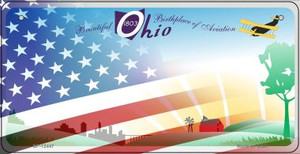Ohio with American Flag Wholesale Novelty Metal Bicycle Plate BP-12447