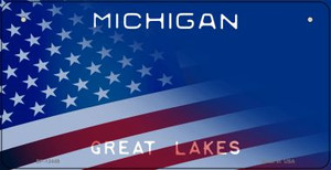 Michigan with American Flag Wholesale Novelty Metal Bicycle Plate BP-12449