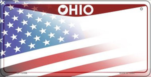 Ohio with American Flag Wholesale Novelty Metal Bicycle Plate BP-12456