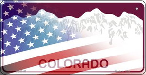 Colorado with American Flag Wholesale Novelty Metal Bicycle Plate BP-12462