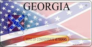 Georgia with American Flag Wholesale Novelty Metal Bicycle Plate BP-12466