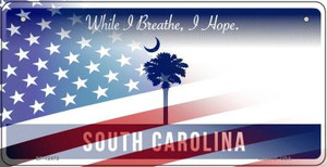 South Carolina with American Flag Wholesale Novelty Metal Bicycle Plate BP-12473