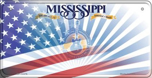 Mississippi with American Flag Wholesale Novelty Metal Bicycle Plate BP-12476