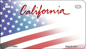 California with American Flag Wholesale Novelty Metal Motorcycle Plate MP-12334