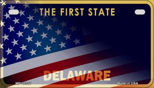 Delaware with American Flag Wholesale Novelty Metal Motorcycle Plate MP-12337