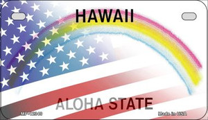 Hawaii with American Flag Wholesale Novelty Metal Motorcycle Plate MP-12340
