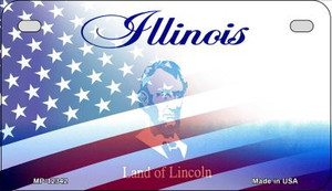 Illinois with American Flag Wholesale Novelty Metal Motorcycle Plate MP-12342