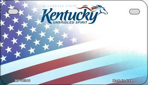 Kentucky with American Flag Wholesale Novelty Metal Motorcycle Plate MP-12346