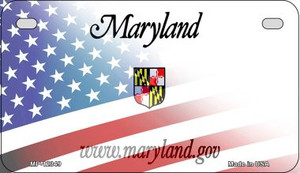 Maryland with American Flag Wholesale Novelty Metal Motorcycle Plate MP-12349