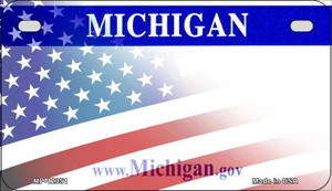 Michigan with American Flag Wholesale Novelty Metal Motorcycle Plate MP-12351