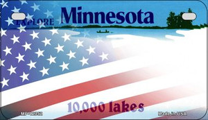 Minnesota with American Flag Wholesale Novelty Metal Motorcycle Plate MP-12352