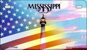 Mississippi with American Flag Wholesale Novelty Metal Motorcycle Plate MP-12353