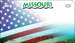 Missouri with American Flag Wholesale Novelty Metal Motorcycle Plate MP-12354