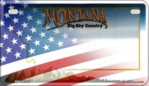 Montana with American Flag Wholesale Novelty Metal Motorcycle Plate MP-12355