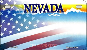 Nevada with American Flag Wholesale Novelty Metal Motorcycle Plate MP-12357