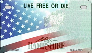 New Hampshire with American Flag Wholesale Novelty Metal Motorcycle Plate MP-12358
