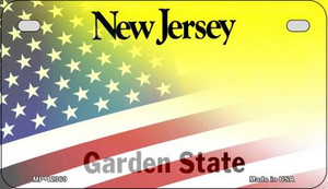 New Jersey with American Flag Wholesale Novelty Metal Motorcycle Plate MP-12360