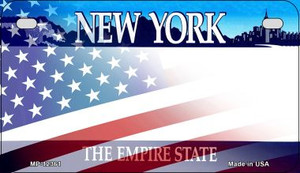 New York with American Flag Wholesale Novelty Metal Motorcycle Plate MP-12361