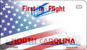 North Carolina with American Flag Wholesale Novelty Metal Motorcycle Plate MP-12362