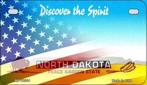 North Dakota with American Flag Wholesale Novelty Metal Motorcycle Plate MP-12363