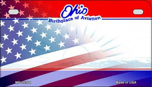 Ohio with American Flag Wholesale Novelty Metal Motorcycle Plate MP-12364