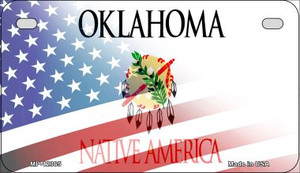 Oklahoma with American Flag Wholesale Novelty Metal Motorcycle Plate MP-12365
