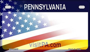 Pennsylvania with American Flag Wholesale Novelty Metal Motorcycle Plate MP-12367