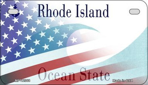 Rhode Island with American Flag Wholesale Novelty Metal Motorcycle Plate MP-12368