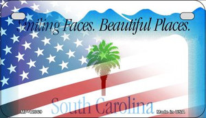 South Carolina with American Flag Wholesale Novelty Metal Motorcycle Plate MP-12369