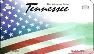 Tennessee with American Flag Wholesale Novelty Metal Motorcycle Plate MP-12371